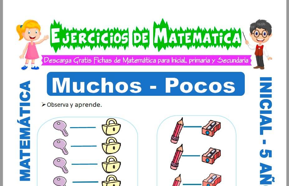 Modelo de la ficha de Ejercicios de Muchos y Pocos para Estudiantes de Inicial de 5 Años.