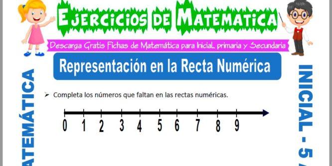 Modelo de la ficha de Ejercicios de Representación en la Recta Numérica para Estudiantes de Inicial de 5 Años.