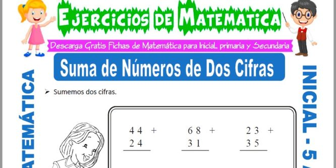 Modelo de la ficha de Ejercicios de Suma de Números de dos Cifras para Estudiantes de Inicial de 5 Años.