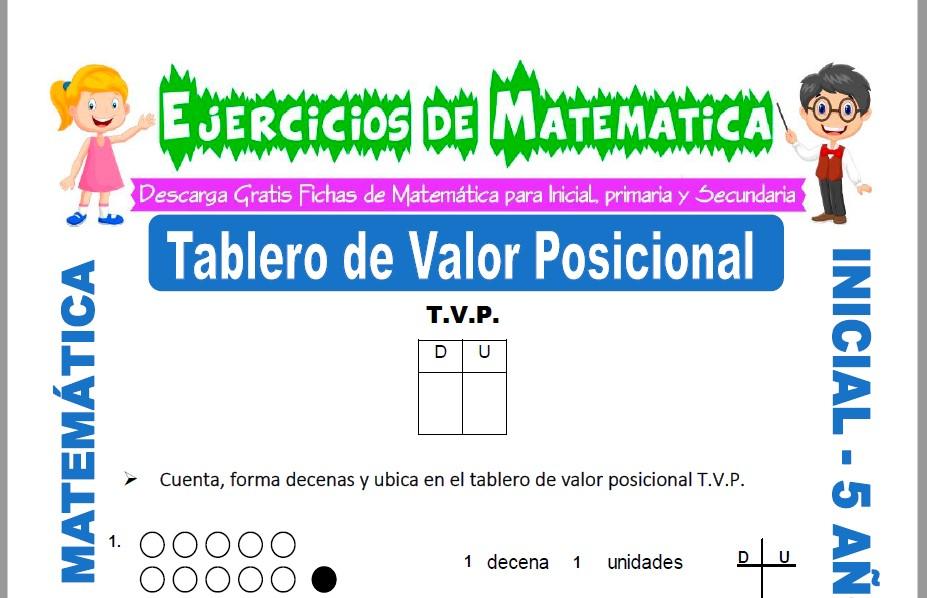 Modelo de la ficha de Ejercicios de Tablero de Valor Posicional para Estudiantes de Inicial de 5 Años.