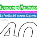 Ejercicios de la Familia del Número Cuarenta para Inicial de 5 Años
