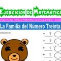 Ejercicios de la Familia del Número Treinta para Inicial de 5 Años