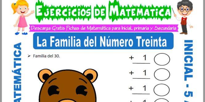 Modelo de la ficha de Ejercicios de la Familia del Número Treinta para Estudiantes de Inicial de 5 Años.