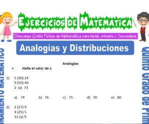 Ejercicios de Analogías y Distribuciones para Quinto de Primaria