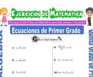 Ejercicios de Ecuaciones de Primer Grado para Quinto de Primaria