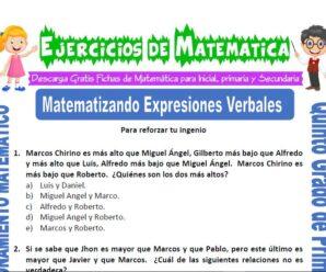 Ejercicios de Matematizando Expresiones Verbales para Quinto de Primaria