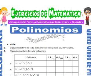 Ejercicios de Polinomios para Quinto de Primaria
