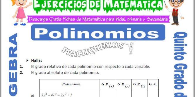 Polinomios para Quinto de Primaria