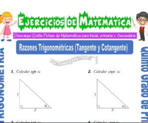 Ejercicios de Razones Trigonométricas (Tangente y Cotangente) para Quinto de Primaria