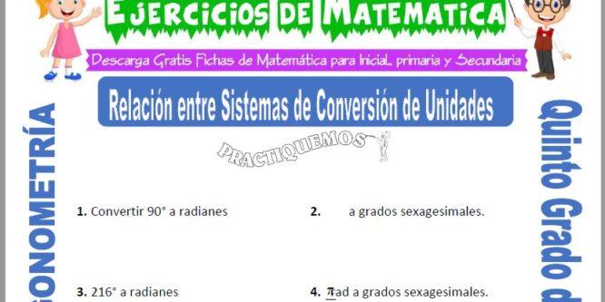 Actividades de Relación entre Sistemas de Conversión de Unidades para Quinto de Primaria
