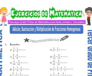 Ejercicios de Adición, Sustracción y Multiplicación de Fracciones Homogéneas para Tercero de Primaria