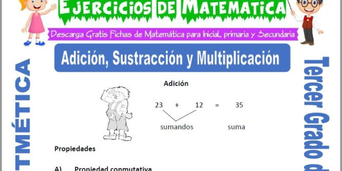 Adición, Sustracción y Multiplicación para Tercero de Primaria