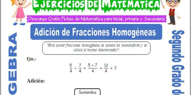 Adición de Fracciones Homogéneas para Segundo de Primaria