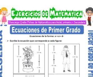Ejercicios de Ecuaciones de Primer Grado para Tercero de Primaria
