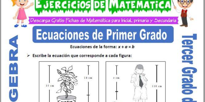 Ecuaciones de Primer Grado para Tercero de Primaria