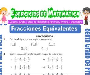 Ejercicios de Comparación de Fracciones para Sexto grado de Primaria