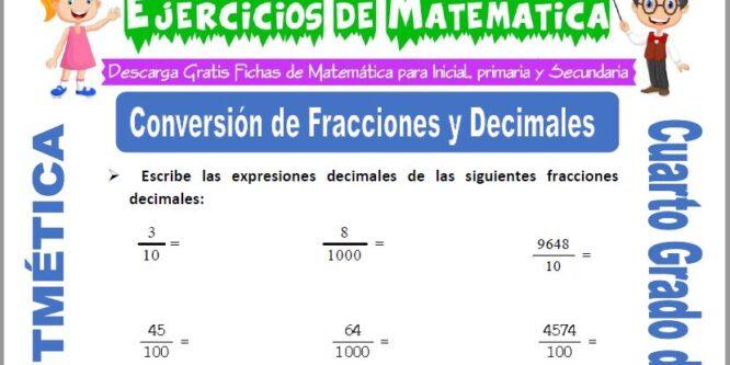Ejercicios de Conversión de Fracciones y Decimales para Cuarto de Primaria
