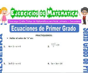 Ejercicios de Ecuaciones de Primer Grado para Sexto grado de Primaria