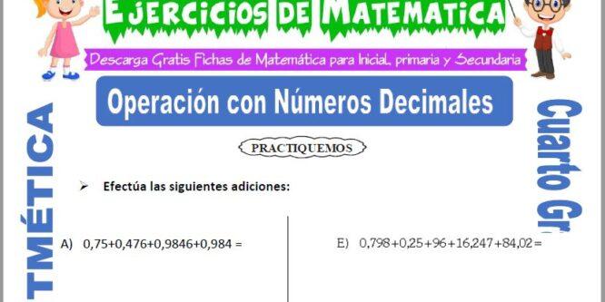Ejercicios de Operación con Números Decimales para Cuarto de Primaria