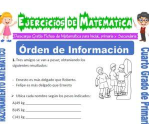 Ejercicios de Orden de Información para Cuarto de Primaria