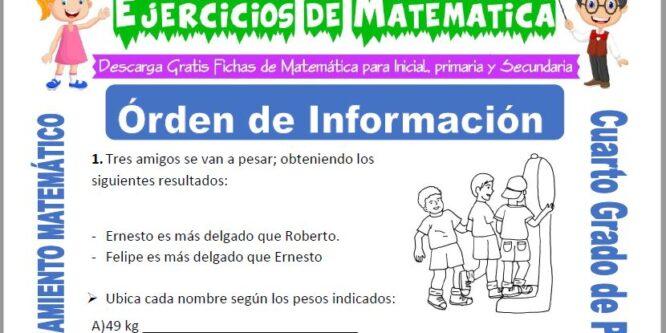 Ejercicios de Órden de Información para Cuarto de Primaria
