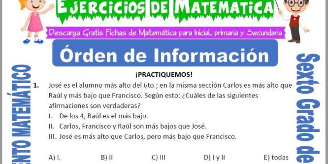 Orden de Información para Sexto de Primaria