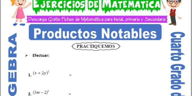 Ejercicios de Productos Notables para Cuarto de Primaria