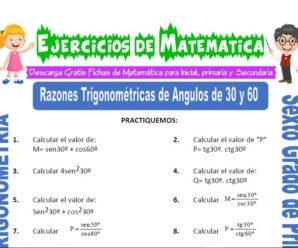Ejercicios de Razones Trigonométricas de Ángulos de 30 y 60 para Sexto grado de Primaria