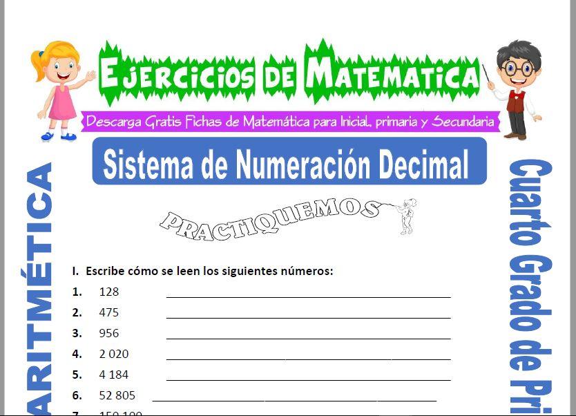 Ejercicios de Sistema de Numeración Decimal para Cuarto de Primaria