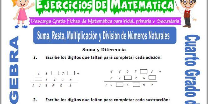 Ejercicios de Suma, Resta, Multiplicación y División de Números Naturales para Cuarto de Primaria