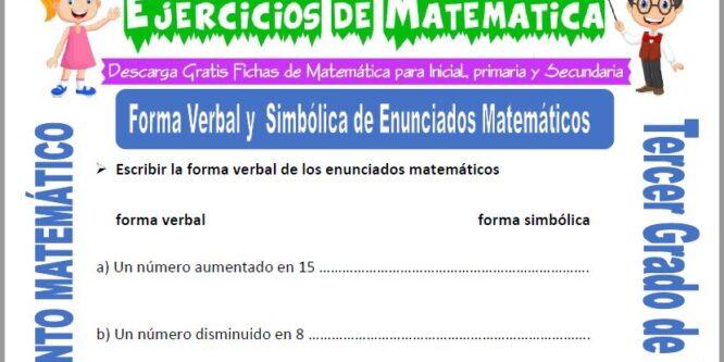 Forma Verbal y Simbólica de Enunciados Matemáticos para Tercero de Primaria