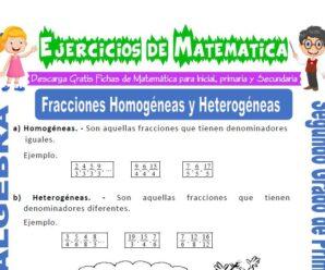 Ejercicios de Fracciones Homogéneas y Heterogéneas para Segundo de Primaria