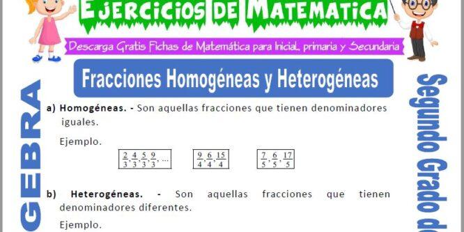 Fracciones Homogéneas y Heterogéneas para Segundo de Primaria