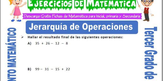 Jerarquía de Operaciones para Tercero de Primaria
