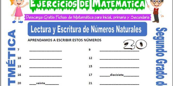 Lectura y Escritura de Números Naturales para Segundo de Primaria