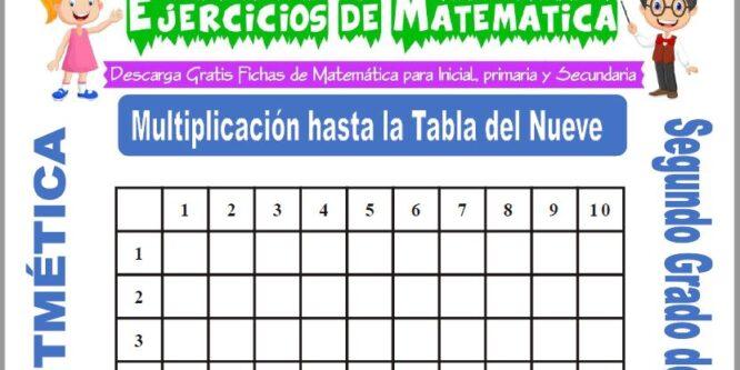 Multiplicación hasta la Tabla del Nueve para Segundo de Primaria