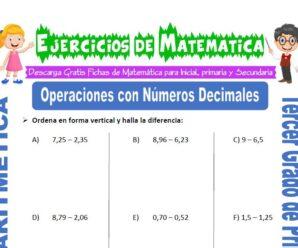 Ejercicios de Operaciones con Números Decimales para Tercero de Primaria