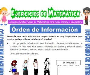 Ejercicios de Orden de Información para Tercero de Primaria