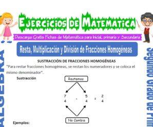 Ejercicios de Resta, Multiplicación y División de Fracciones Homogéneas para Segundo de Primaria